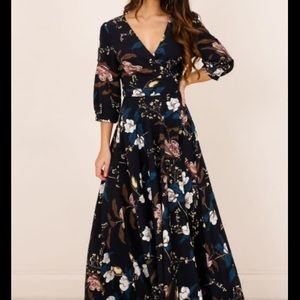 Retro Romance maxi dress in navy floral